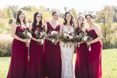Fall Wedding, Bridesmaids in Red, Oakville Harbour LightHouse Wedding with Luminous Photography