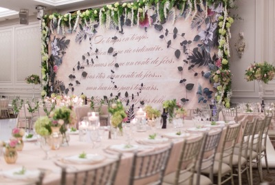 Hazelton Manor, Garden Themed wedding with custom mural, with Studio 2000