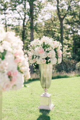 Garden Flowers, urns, Blush pink ceremony flowers