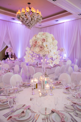 White Classic Centrepiece, Floral in chandelier, white orchids