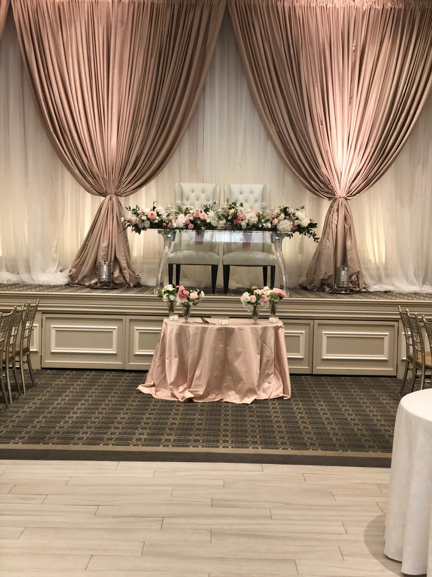 Head Table Decor, Blush Backdrop